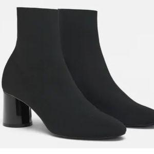 Zara Basic Fabric Round Heel Boots